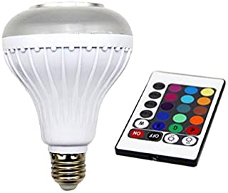 مصباح ذكي ضوء ليد LED، لمبة مكبر صوت لاسلكي تعمل بالبلوتوث، مصباح ضوء موسيقي يعمل بالتحكم عن بعد