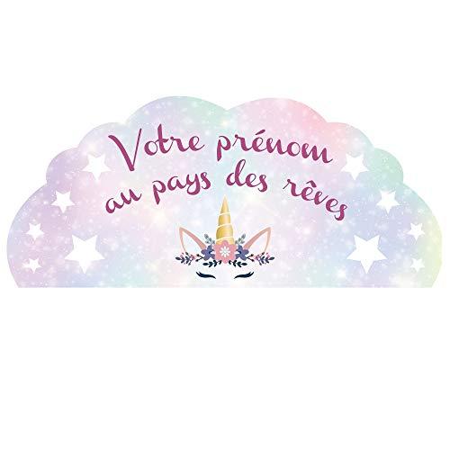 Décoration Chambre Enfant Tête de Lit - Licorne - Personnalisable avec Le Prénom De Votre Fille - Dimensions 44 cm x 1 m - Protection Anti-UV