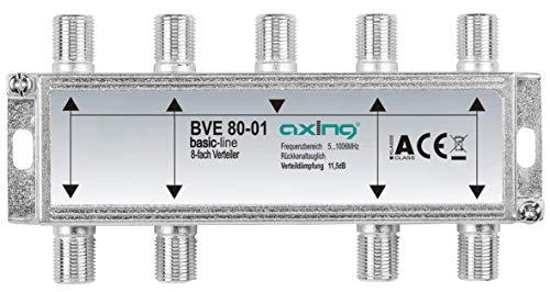 Axing BVE 80-01 Splitter 8 Vie, 5-1006 MHz partitore antenna con connettore F, per digitale terrestre e tv via cavo