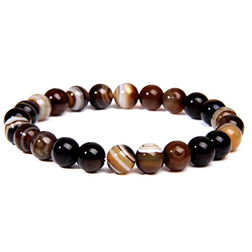 Shangwang - Pulsera de perlas de ojo de tigre natural de 8 mm para hombre, hecha a mano, elástica, color marrón