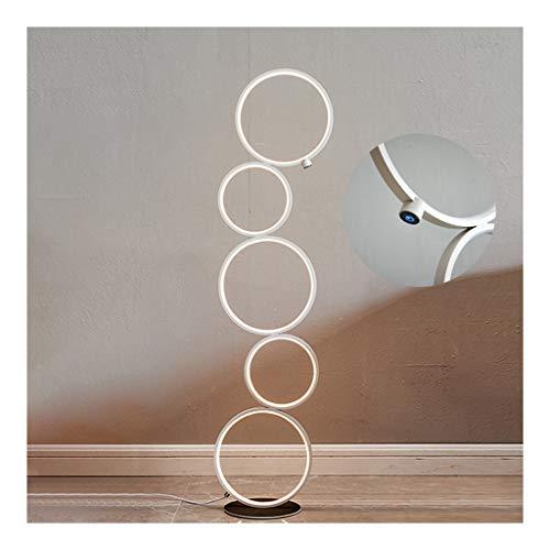 Moderne Kreis-LED-Stehleuchte, Noten Dimmbare Aluminium Stand-Lampe for Wohnzimmer Schlafzimmer Nachttischlampe Energiespar Fußboden-Licht (Color : White-5 rings)