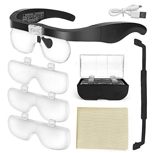 E-More Lupenbrille mit Licht Hände Frei Kopfband Lupen mit 2 LED Lichts für Hobby,Denest,Elektriker,Juweliere,Nähen,Handwerk,und ältere Menschen-4 Wechselobjektive (1.5X, 2.5X, 3.5X, 5X)