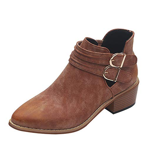 Vovotrade Dames laarzen ankle boots dames laarzen met blokhak korte schacht laarzen blokhak profielzool hak cowboy westernstijl