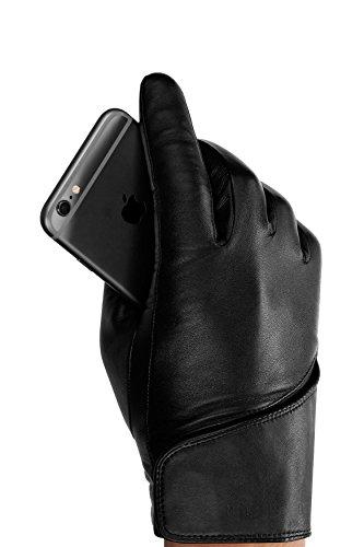 Touchscreen-handschoenen van leer van Mujo 8.0 zwart