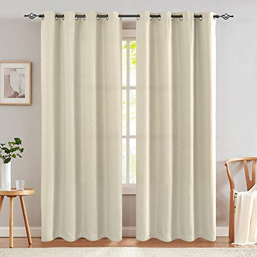 jinchan Linen Textured 90 inch Long Room Darkening Greyish Beige Curtains for Bedroom Moderate Light Reducing & Thermal Insulating Curtain Panel One Panel Beige