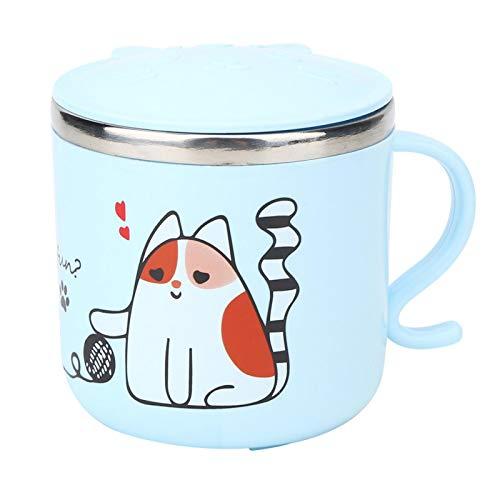 WENHANGshidai Tazas de Agua para el hogar Taza para niños de Dibujos Animados de Acero Inoxidable de Dos Pisos con Tapa 270ml(Gatito Azul)