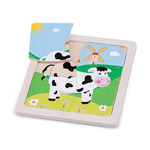 New Classic Toys Mini Puzzle Vache Jeu Éducatif pour Enfants