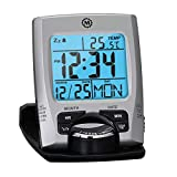MARATHON Travel Alarm Clock with Calendar & Temperature - Battery Included, Color-Silver, SKU-CL030023