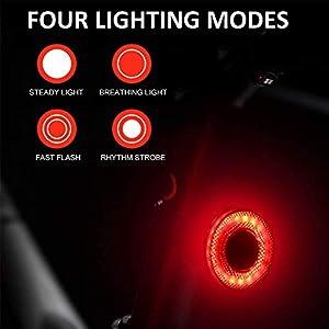 Luz de Cola para Bicicleta Inteligente, Ultra Brillante Sensor LED Luz Bici, USB Recargable Impermeables IPX6 Lámpara de Advertencia de Seguridad en Bici Faro Trasero Bici con 2 Modos Instalación