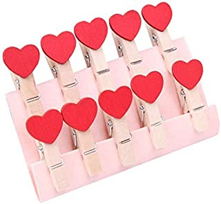 Art Street Mini Spring Red Heart Wood Clips - Set of 20 pcs Clothes Photo Paper Peg Pin Craft Clips Party Home Decoration