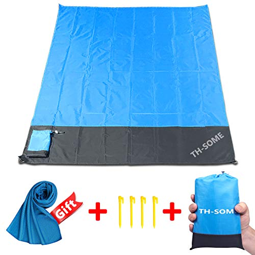 Th-some Picknickdecke wasserdichte Stranddecke Portable Sand Frei Matte für Den Strand, Picknick, Camping, Reisen, Outdoor Events (blau: 200x140 cm)