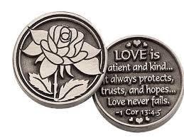 THREE (3) LOVE is PATIENT -Pewter POCKET Tokens - PAUL Corinthians 13:4-8- 1' Metal Coin --INSPIRATIONAL Gift - KEEPSAKE - Scripture