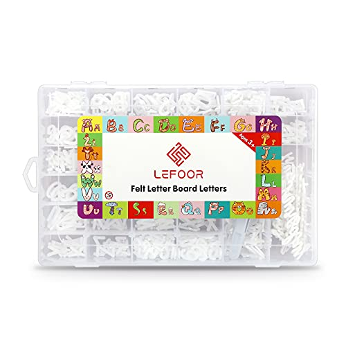Letter Board Letters Only,698 PRE-Cut Characters (3/4 Inch,White) with Sorting Tray,Felt Letter Board Letters (Choice D)