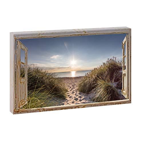 Bild auf Leinwand mit Fenster-Motiv Fensterblick Dünenweg | 120 x 80 cm, Farbig, quer, Wandbild, Leinwandbild mit Kunstdruck, Fensterblickbild auf Holzrahmen gespannt, 80x120 cm