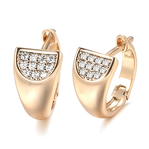 Pendientes de botón de circonita Natural de Oro Rosa de Lujo 585 para Mujer, Hermoso Pendiente de Boda, joyería de Compromiso