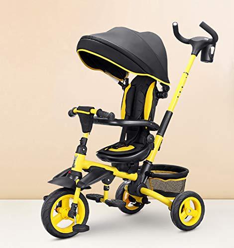 AI-QX Dreirad 7-in-1 Kinder Fahrrad mit 360° Drehsitz + Luftkammerrad + Liegefunktion ab 6 Monate bis 6 Jahre,Rot