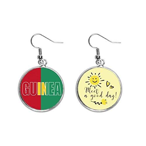 Guinea Country Flag Name Art Deco Gift Fashion Ear Drop Sun Flower Earring Jewelry Fashion