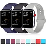 Pack 3 Compatible with iWatch Band 38mm 40mm 42mm 44mm, Soft Silicone Band Replacement for Apple iWatch Series 4, Series 3, Series 2, Series 1 (Navy Blue/Black/Gray, 38mm/40mm-M/L)