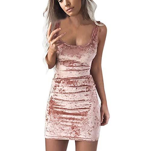 FRAUIT Vestito Donna Corto Velluto, Abito da Cocktail Mini Abito Donna Sexy Elasticizzato Mini Dress Donna Tinta Unita Vestiti Ragazza Sexy Sera