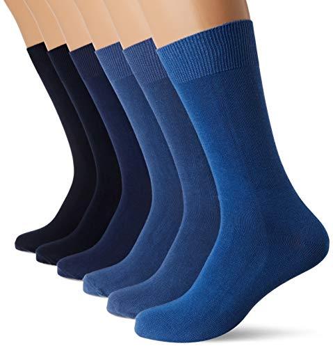 FM London, Calcetines Para Hombre, Azul, talla del fabricante: 6-11, Pack de 6