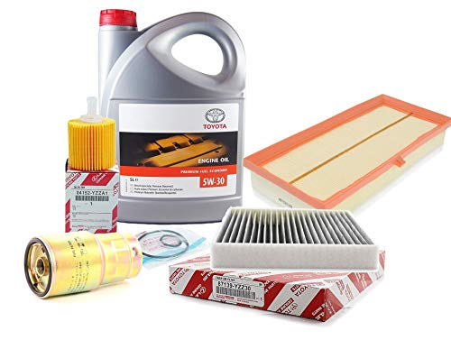 Filter Set Kit voor Herziening Echte Toyota 5W-30 PFE synthetische motorolie 08880-83389 C2 5 Liter, (originele actieve koolstoffilters)