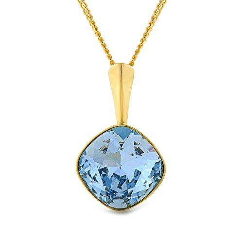 Collana in oro giallo a 18K su argento sterling, con cristalli Swarovski tagliati a cuscino, per orecchini o collane, Placcato oro, colore: Aquamarine Necklace, cod. EA-513459983