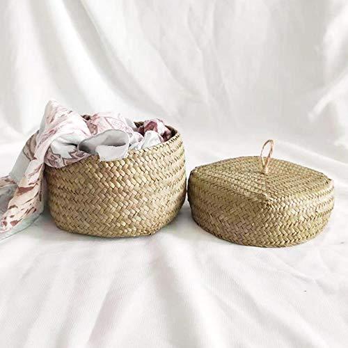 Seagrass Basket Wardrobe Desktop Storage Basket with Lid Seagrass Woven Snack Yarn Small Toy Organizer Multi-Purpose Organization Box