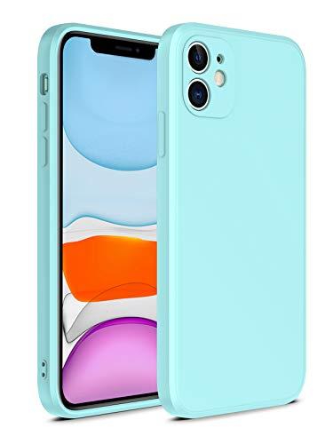 SevenPanda für iPhone 6 Plus Liquid Silikon Hülle, [Silky Serie] Gerade Kante Slim Gel Gummi Ganzkörperschutz Stoßfeste Abdeckung für iPhone 6S Plus (5.5 Zoll), Mint Blau