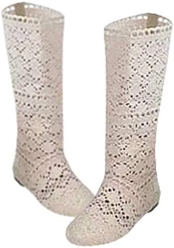 Yying Damen Sommer Stiefel Stiefeletten Flach Stickerei Hohe Stiefel, Sexy Mesh Schlupfstiefel, Slip-On Schuhe Boots Beige 35