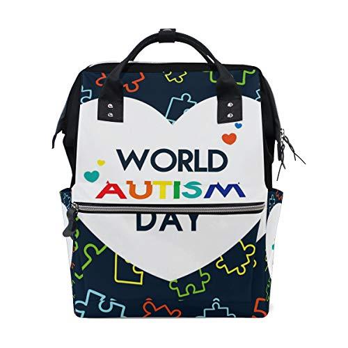 Autism Day World Sac à langer Sac à dos Maman Papa Sac à dos Voyage École Garçon Fille Grande Capacité Couche pour Maman Hommes Femmes
