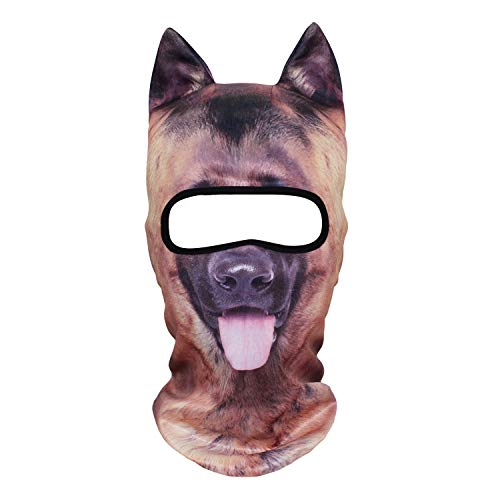 YOSUNPING 3D Animal Ears Balaclava,Cute Full Face Hood Mask Cover for Ski Snowmobile Riding Hunting Halloween Party Activities Music Festivals Raves German Shepherd 11