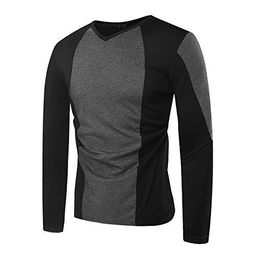 Coloré(TM) T-Shirt Homme,Automne Manches Longues Patchwork Pull Sweat Top T-Shirt en Plein Air Blouse (M, Gris Foncé)