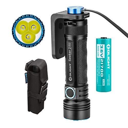 Olight Seeker 2 Pro Taschenlampe 3200 Lumen 250 Meter Entfernung 3 LEDs Leistungsstarke Wiederaufladbar Seitlicher Schalter LED Taschenlampen, mit 21700 Akku + Tidusky-Batteriefach