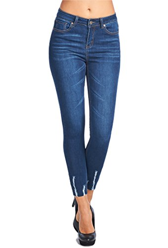 Vialumi Women's Cropped Cut Off Hem Distressed Skinny Jeans Blue Denim 5