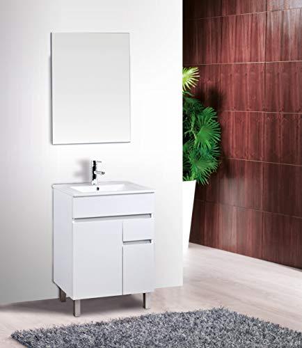 Conjunto de Mueble de baño con Lavabo de Porcelana y Espejo - 2 Puertas y 1 Cajón amortiguado - El Mueble va MONTADO - Modelo Clif (60 cms, Blanco)