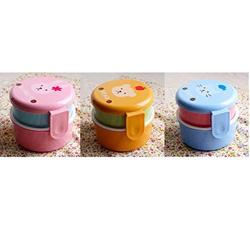 XYQ Estilo japonés Doble Mini-Circulares, Caja de microondas Fiambrera Animal Lindo Caja de Almuerzo de los niños Box Lunch * Azul/Rosa/Amarillo