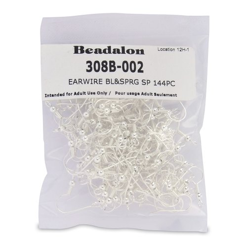 Beadalon 144-Piece Ball and Spring Ear Wire, Nickel Free Silver Plate