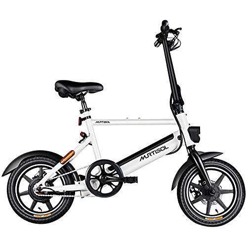 Murtisol Electric Bicycles Aluminium Adult Ebike 36V 6AH Lithium Battery, Dual Disc Brakes, 3 Digital Adjustable Speed Electric Bike, Hidden Battery Design, Foldable Handle,White