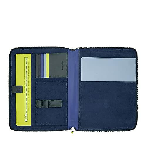 DUDU Dokumenten-Mappe A4 mit Reissverschluss aus Nappaleder Organizer Blockhalter mit Tablet-Fach Mangrove
