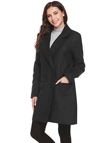 UNibelle Damen Langarm Cabanjacke Reverskragen Trenchcoat Mantel Kurzmantel Zweireihig Jack Anzug mit Schalkragen Schwarz S