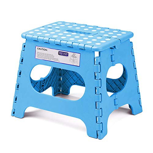ACSTEP Folding Step Stool for Adults-11 Height Lightweight Plastic Stepping Stool. Foldable Step Stool Hold up to 300lbs Non Slip Collapsible Stool Blue