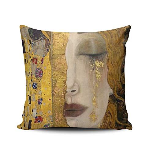 Anpassad lyxig rolig färgglad kyssen av Gustav Klimt fyrkantigt örngott med dragkedja på en sida tryckt 50 cm x 66 cm prydnadskuddöverdrag