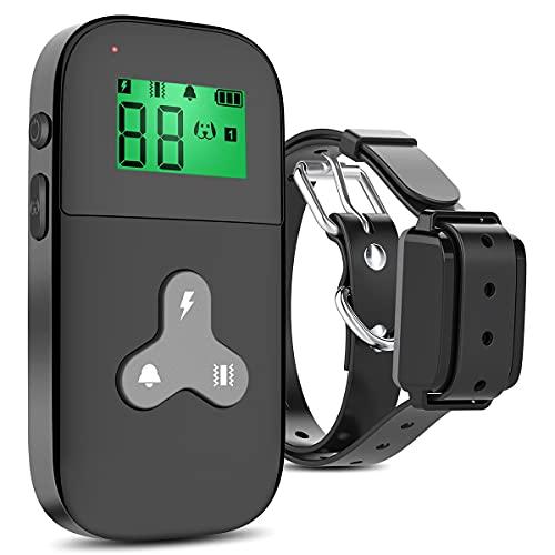 Collier De Dressage pour Chien, Colier Anti Aboiment Chien avec Télécommande et Ecran LCD (5 niveux de Vibration + Choc Electrique + Bip Sonore) - Noir