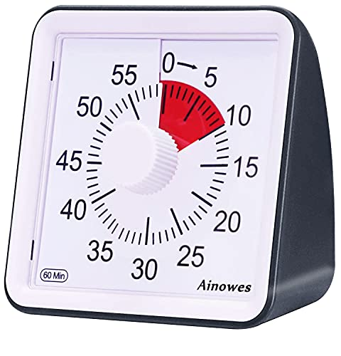 Ainowes Visual Timer, 60-Minute Silent Countdown Timer for Kids and Adults, Time Management Tool for Kitchen, Classroom, Self-Study, No Loud Ticking(Black)