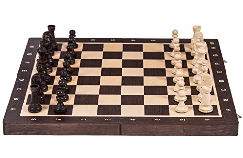 Square - Ajedrez de Madera Nº 6 - WENGE - Tablero de ajedrez + Staunton 6