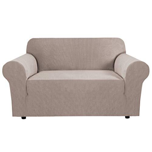 BellaHills Sofabezüge Couchbezug High Stretch Jacquard Loveseat Schonbezug Couch Sofabezug für 2-Sitzer Konventioneller Sofa Spandex Waschbarer Möbelschutz (2 Sitzer, Sand)