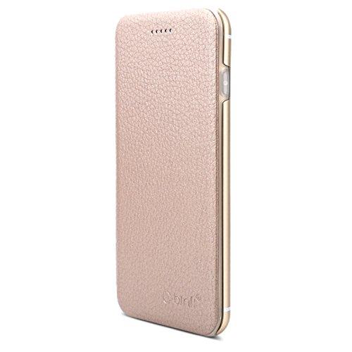 VAPIAO Echtleder Schutzhülle Lederschutzhülle Aluminium Hard Back Flip Cover TPU Case für iPhone 6 Plus, 6s Plus in Gold