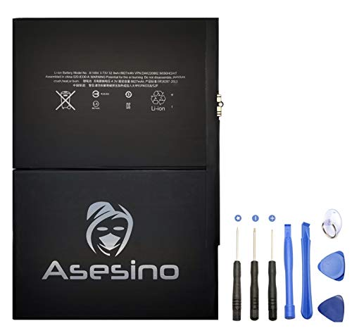 Asesino Battery Compatible with Apple iPad 5, iPad Air 1, 8827mAh. Includes Adhesive and Replacement Toolkit (A1484, A1474, A1475) (12-Month Warranty)