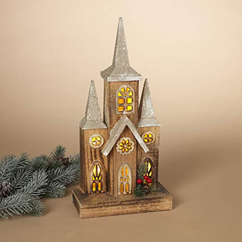 16-Inch Light Up Rustic Wood Christmas Church – Lighted Holiday Village House Mantle Decoration – Winter Tabletop Home Decor