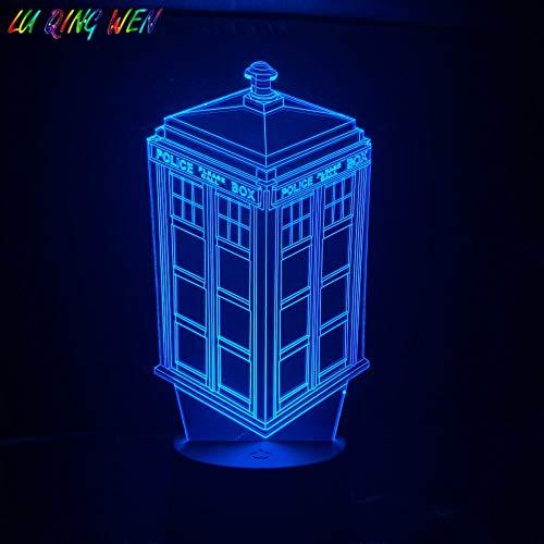 Zhuhuimin Telefonzelle Tardis 3D Licht Nachtlicht Kind Kind Baby Geschenk Telefonzelle Polizeistand Dekoration Lampe Arzt, der das Nachtlicht führt